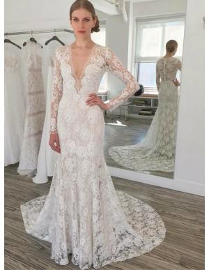 Sheath V-Neck Long Sleeves Sweep Train Lace Wedding Dress