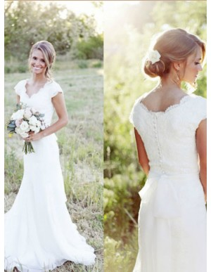 A-line V-neck Cap Sleeves Simple Wedding Dress with Lace Sashes