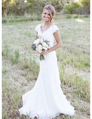 Mermaid V-neck Cap Sleeves Simple Wedding Dress with Lace Sashes