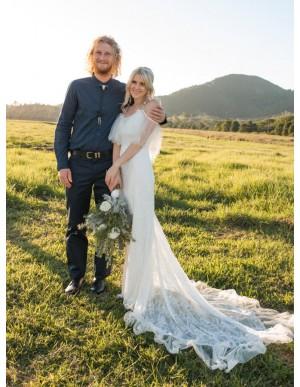 Mermaid Spaghetti Straps Sweep Train White Lace Wedding Dress with Ruffles