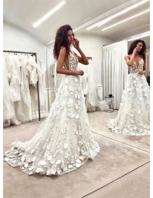 A-Line Deep V-Neck Sweep Train White Wedding Dress with Appliques Beading