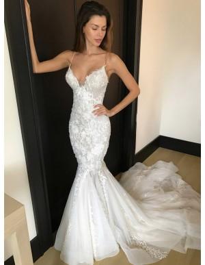 Mermaid Spaghetti Straps Long White Wedding Dress with Court Train