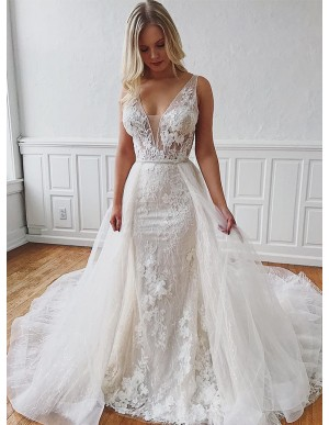 Detachable V-Neck Sleeveless Mermaid Wedding Dress with Appliques