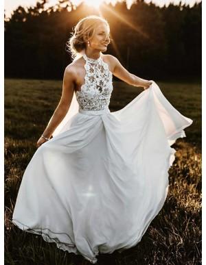 Romantic A-Line Halter Sleeveless Chiffon Beach Wedding Dress with Lace