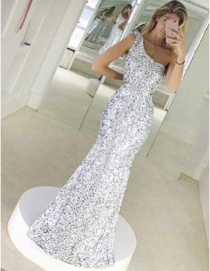 Mermaid One-Shoulder Floor-Length Silver Sequined Prom Dress