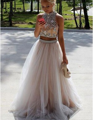 A-Line High Neck Open Back Champagne Two Piece Prom Dress with Beading Rhinestones