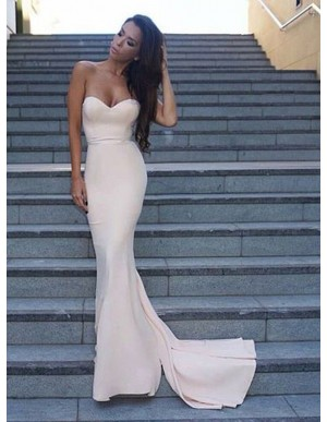 Mermaid Sweetheart Sleeveless Sweep Train Ivory Prom Dress