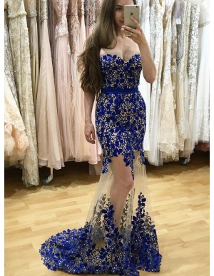 Mermaid Sweetheart  Backless Sweep Train Royal Blue Prom Dress with Lace