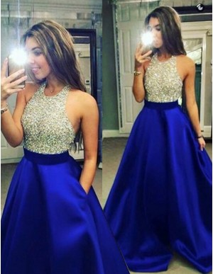 Royal Blue A-Line Halter Backless Floor-Length Beaded Prom Dress