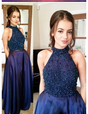 Two Piece A-Line Halter Navy Blue Beaded Satin Prom Dress