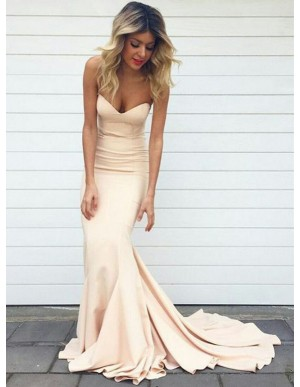 Mermaid Sweetheart Sweep Train Elegant Pearl Pink Prom Dress