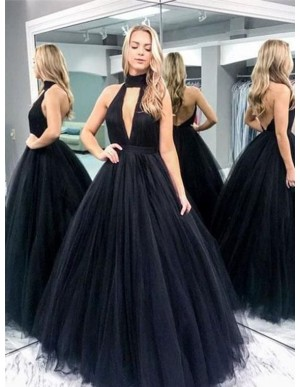 Ball Gown Halter Sleeveless Keyhole Backless Black Sexy Prom Dress