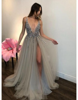 A-Line Deep V-Neck Backless Slit Legs Beaded Silver Prom Dress