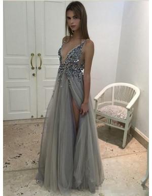 A-Line Deep V-Neck Backless Slit Legs Beaded Grey Tulle Prom Dress