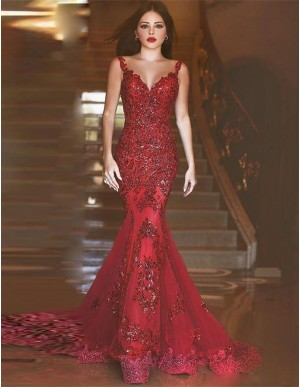 Mermaid V-Neck Backless Burgundy Prom Dress with Beading Appliques