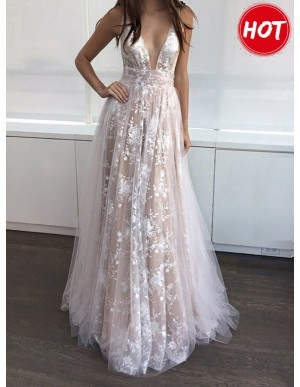 A-Line Deep V-Neck Floor-Length Pink Prom Dress with Lace