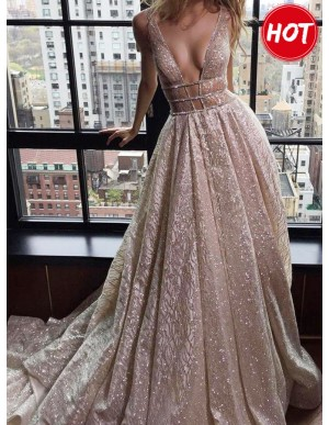 A-Line Deep V-Neck Court Train Backless Silver Prom Dress with Sequins