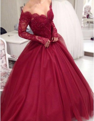 A-Line Off the Shoulder Long Sleeves Burgundy Prom Dress with Beading