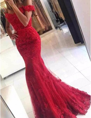 Mermaid Off the Shoulder Short Sleeveless Lace Red Prom Dress with Beading