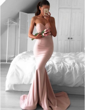 Mermaid Sweetheart Sweep Train Blush Prom Dress with Lace Top