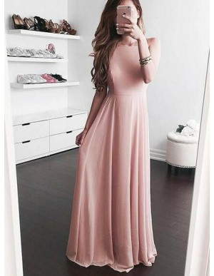 A-Line Square Neck Floor-Length Pearl Pink Chiffon Prom Dress with Pleats