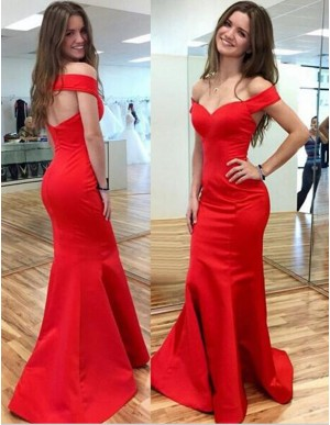 Mermaid Off the Shoulder Short Sleeves Open Back Long Red Prom Dress