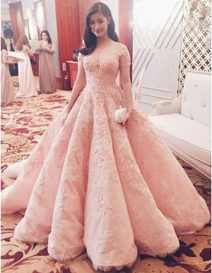 A-Line Sweetheart Short Sleeves Ruffles Long Pink Prom Dress with Lace
