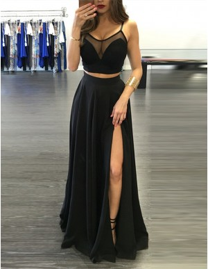 Two Piece Spaghetti Straps Slit Leg Black Prom Dress with Pleats