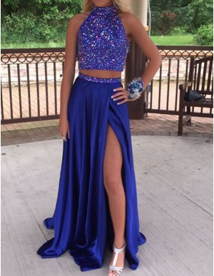 Two Piece Open Back Slit Leg Beaded Long Royal Blue Prom Dress