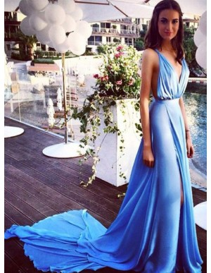 A-Line Deep V-Neck Split Front Long Blue Backless Prom Dress with Pleats