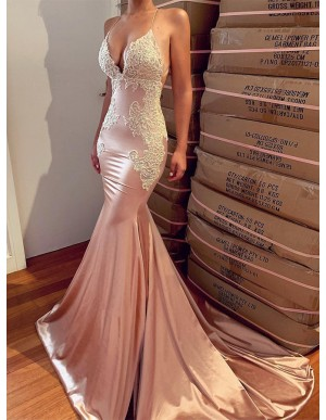 Spaghetti Straps Mermaid Evening Dress Blush Backless Prom Dress with Lace