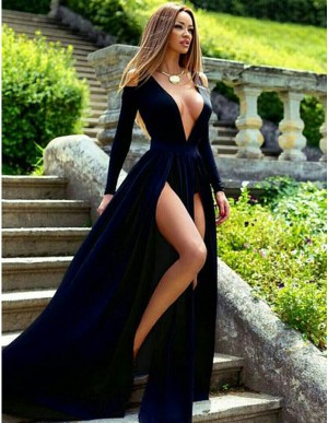 A-Line Deep V-Neck Long Sleeves Split Front Dark Navy Long Prom Dress