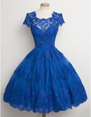 A-Line Square Cap Sleeves Open Back Short A-Line Blue Homecoming Dress