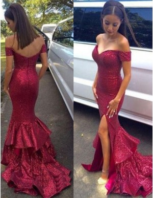 Mermaid Off the Shoulder Split Front Tiered Long Rose Prom Dress