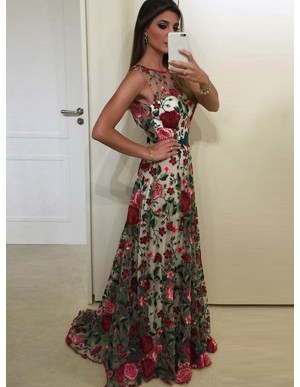 A-Line Bateau Backless Sweep Train Floral Lace Prom Dress with Sash