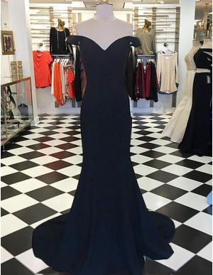 Simple Navy Blue Off the Shoulder Short Sleeves Long Mermaid Prom Dress