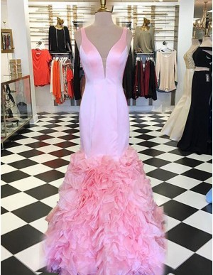 Modern Pink Deep V-Neck Sweep Train Mermaid Prom Dress