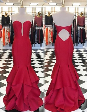 Elegant Red Sweetheart Sweep Train Open Back Tiered Mermaid Prom Dress