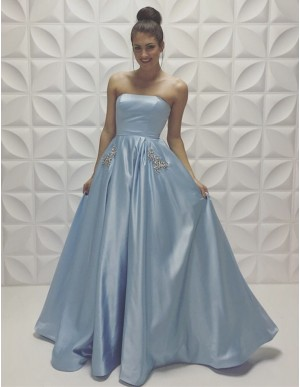 200b1112 Charming Light Blue Strapless Long Prom Dress with Beading Pleats