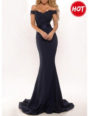 Mermaid Off-the-Shoulder Black Prom Dress with Appliques Lace