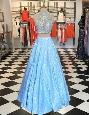 Two Piece Light Blue High Neck Printed Prom Dress with Beading