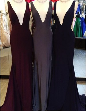 Simple Deep V-Neck Sleeveless Sweep Train Backless Mermaid Prom Dress