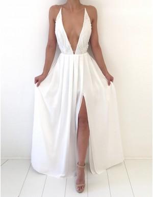 A-line Deep V-neck Split White Prom Dress with Lace Pleats