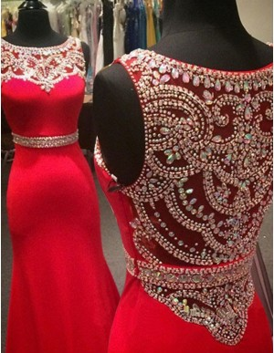 A-line Bateau Sleeveless Sweep Train Red Mermaid Prom Dress with Beading