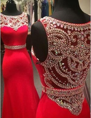 A-line Bateau Sleeveless Sweep Train Red Mermaid Prom Dress with Beading