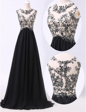 A-line Crew Neck Black Long A-line Prom Dress with Beading Lace