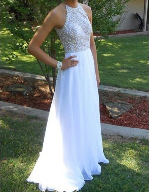 White Round Neck Sleeveless Sweep Train A-line Prom Dress with Beading