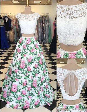 Two Piece Cap Sleeves Printed Beaded Long Prom Dress with Lace