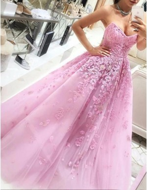 Pink Sweetheart Sleeveless Long Ball Gown Prom Dress with Lace Appliques
