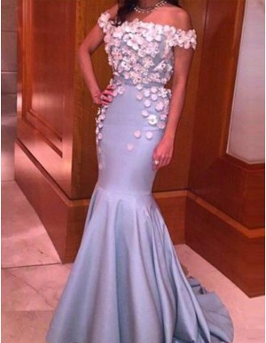 Lavender Off the Shoulder Sweep Train Mermaid Prom Dress with Appliques